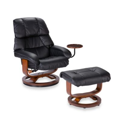 Leather Recliner/Ottoman with Accessory Table in Black