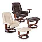 Ergonomic Leather Recliner and Ottoman with Accessory Table