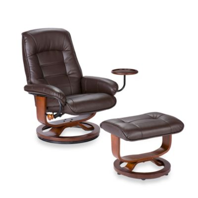 Southern Enterprises Ergonomic Leather Recliner and Ottoman with Accessory Table in Cafe Brown