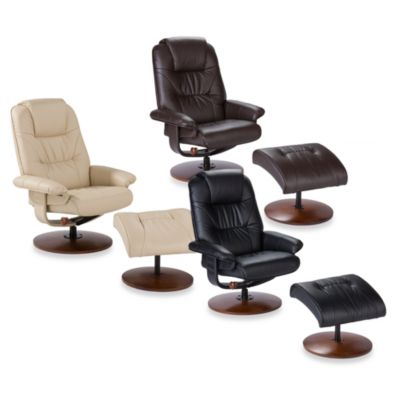 Modern Leather Recliner and Ottoman Set