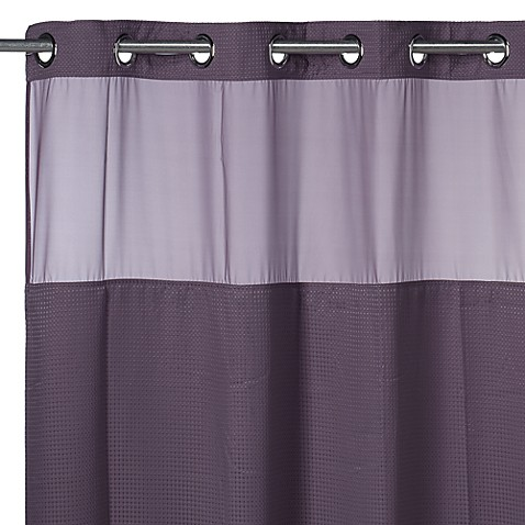 Hookless Waffle Purple 71 Inch X 74 Inch Fabric Shower Curtain And Liner Set