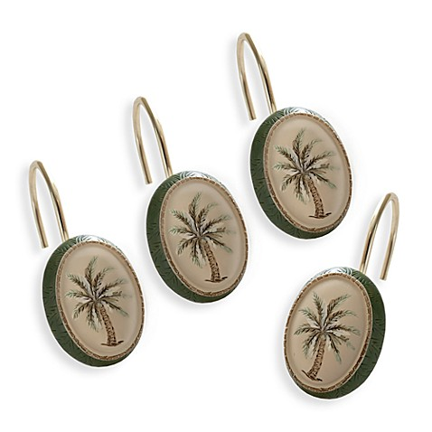 Palm Tree Shower Curtain Hooks (Set of 12)