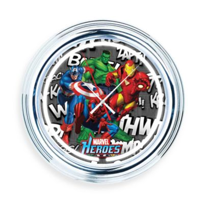 "Marvel Heroes ""Effects"" Neon Wall Clock"