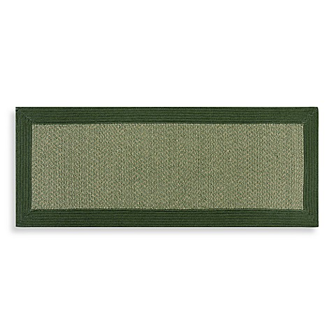 6-Foot Round Border Braid Tweed Rug in Olive