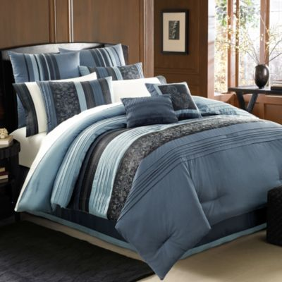Manor Hill® Cleo Sapphire 8- Piece King Complete Bed Ensemble