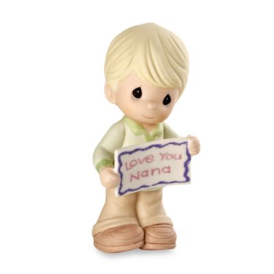 "Precious Moments® Boy Holding ""Love You Nana"" Sign Porcelain Figurine"