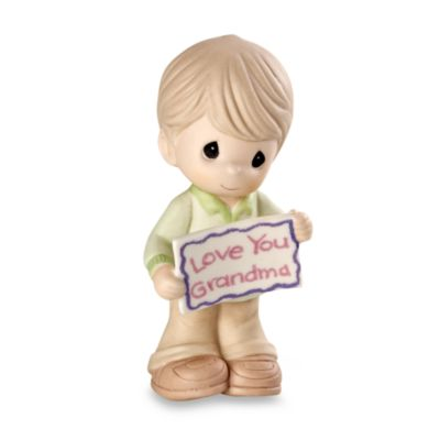 "Precious Moments® Boy Holding ""Love You Grandma"" Sign Porcelain Figurine"
