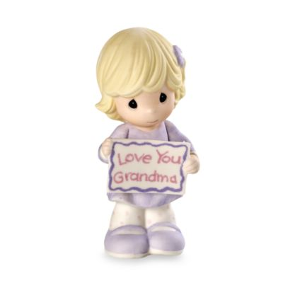 "Precious Moments® Girl Holding ""Love You Grandma"" Sign Porcelain Figurine"