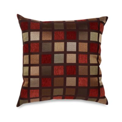 Windowpane 22-Inch Square Decorative Toss Pillow in Red