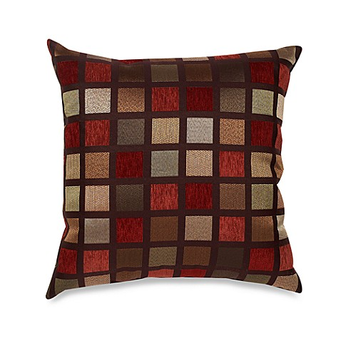 Not One Throw Pillow On The Bed : Windowpane 22-Inch Square Decorative Toss Pillow in Red - Bed Bath & Beyond