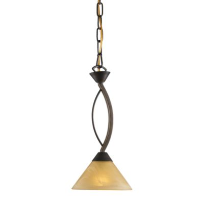 ELK Lighting 1-Light Pendant inaged Bronze with Tea Swirl Glass Shade