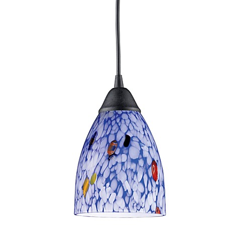 ELK Lighting 1-Light Pendant in Dark Rust with Starlight Blue Glass