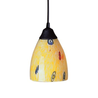 ELK Lighting 1-Light Pendant in Dark Rust with Yellow Blaze Glass
