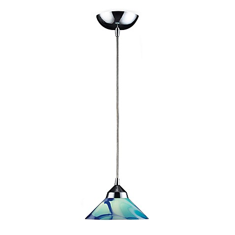 ELK Lighting 1-Light Small Pendant with Polished Chrome and Carribean Glass