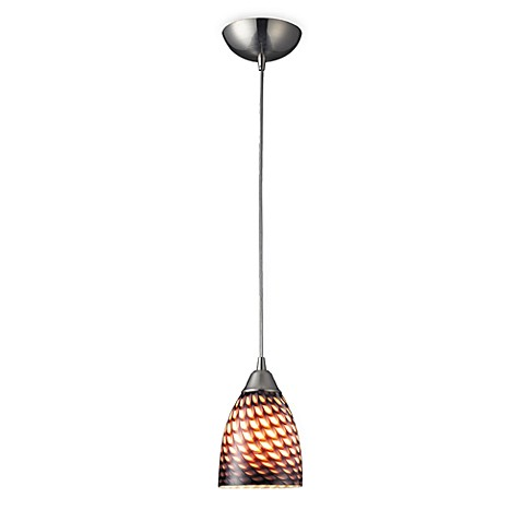 ELK Lighting 1-Light Pendant with Satin Nickel and Coco Glass Shade