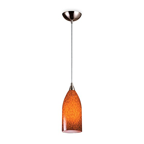 ELK Lighting 1-Light Pendant with Satin Nickel Finish and Espresso Glass Shade