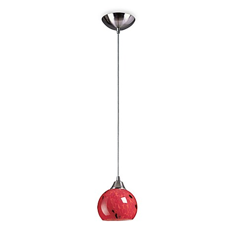 ELK Lighting 1-Light Pendant in Satin Nickel with Round Fire Red Glass