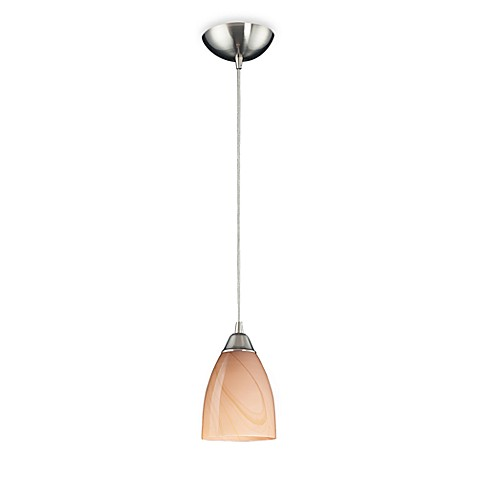 ELK Lighting 1-Light Pendant Sandy Glass with a Satin Nickel Finish