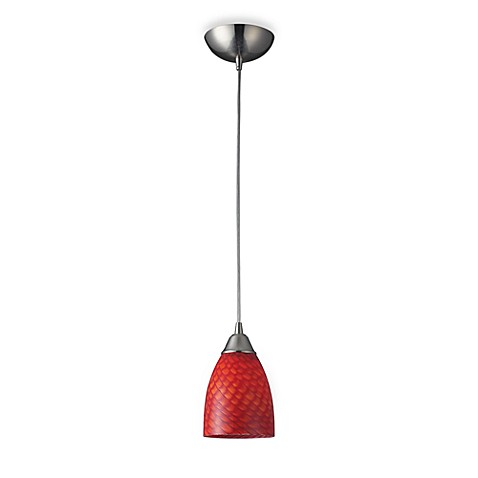ELK Lighting 1-Light Pendant In Satin Nickel And Scarlet Red Glass