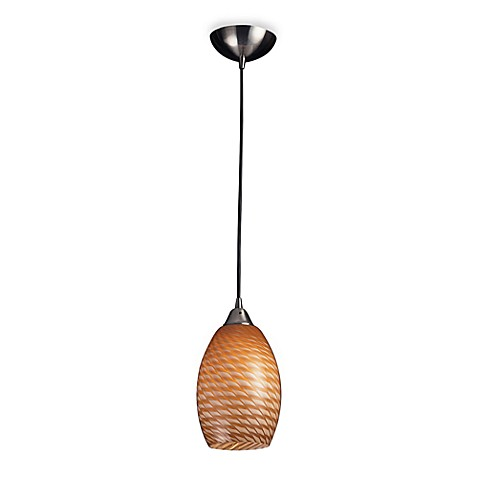 ELK Lighting 1-Light Pendant In Satin Nickel With Short Coco Glass Shade