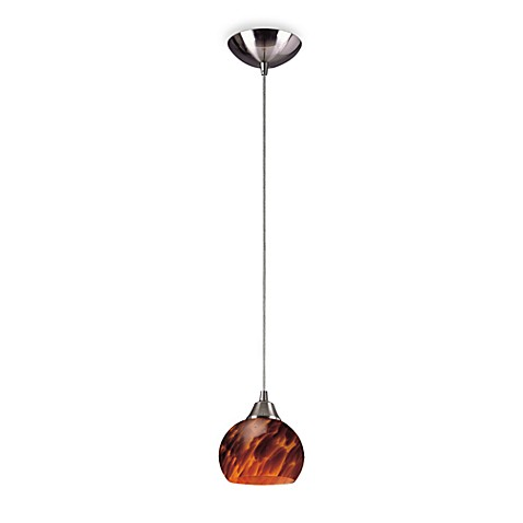 ELK Lighting 1-Light Pendant in Satin Nickel with Round Espresso Glass