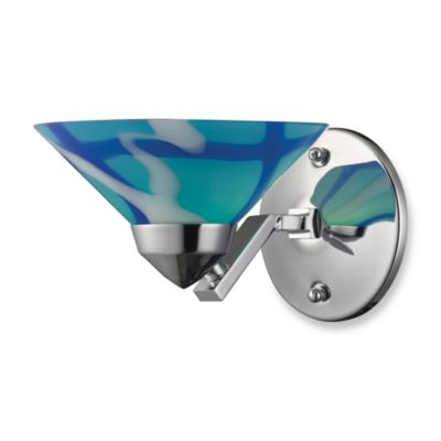 ELK Lighting Refraction Collection 1-Light Sconce In Polished Chrome And Carribean Glass