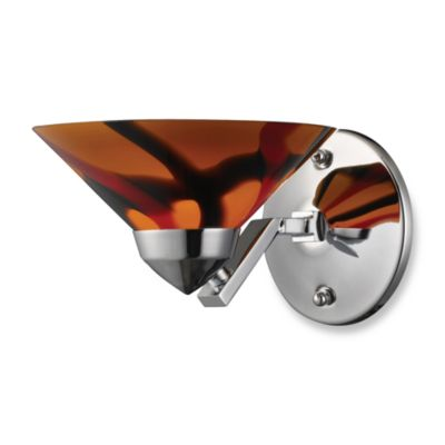 ELK Lighting Refraction Collection 1-Light Sconce In Polished Chrome with Creme and White Glass