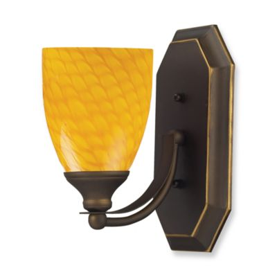 ELK Lighting 1-Light Vanity Light in Aged Bronze with Canary Glass