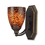 ELK Lighting 1-Light Vanity Light in Aged Bronze with Espresso Glass