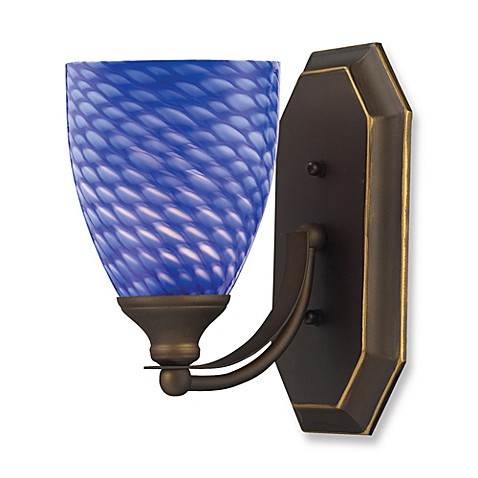 ELK Lighting 1-Light Vanity Light in Aged Bronze with Sapphire Glass