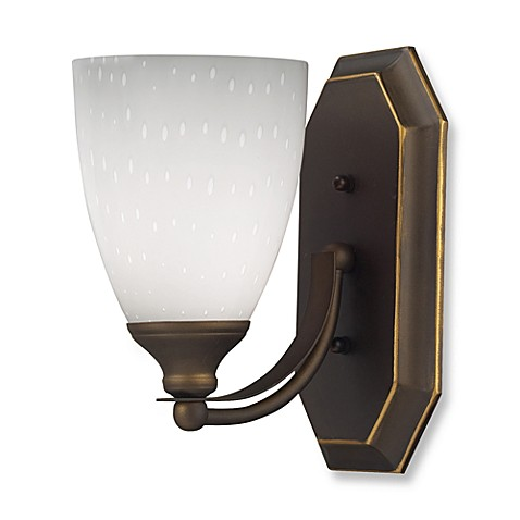 ELK Lighting 1-Light Vanity Light in Aged Bronze with Simply White Glass