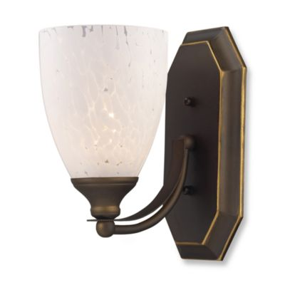ELK Lighting 1-Light Vanity Light in Aged Bronze with Snow White Glass