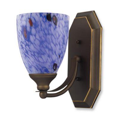ELK Lighting 1-Light Vanity Light in Aged Bronze with Starburst Blue Glass