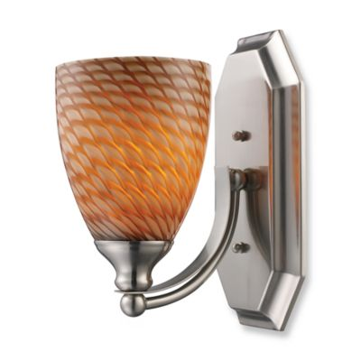 ELK Lighting 1-Light Vanity In Satin Nickel And Coco Glass