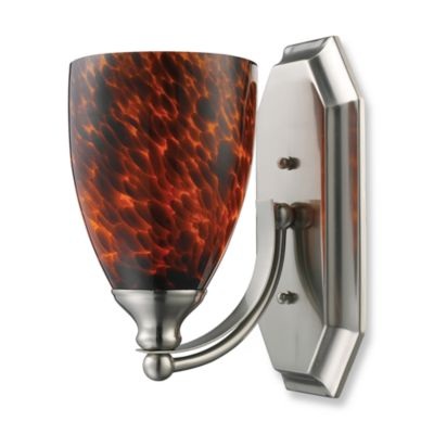 ELK Lighting 1-Light Vanity In Satin Nickel And Espresso Glass
