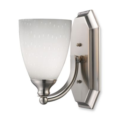 ELK Lighting 1-Light Vanity In Satin Nickel And Simply White Glass
