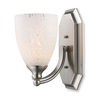 ELK Lighting 1-Light Vanity In Satin Nickel And Snow White Glass