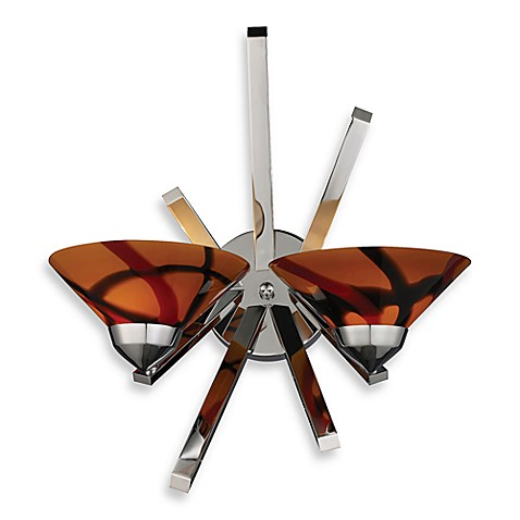 ELK Lighting Refraction Collection 2-Light Sconce in Polished Chrome and Jasper Glass