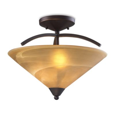 ELK Lighting Elysburg 2-Light Semi Flush Mount in Aged Bronze and Tea Swirl Glass