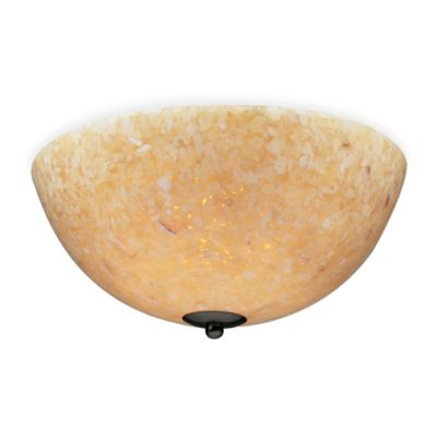 ELK Lighting Stonybrook 2-Light Semi Flush Mount in Dark Rust and Amber Stone