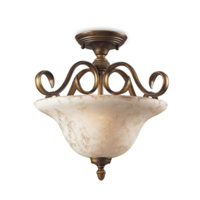 ELK Lighting Trump Home™ Briarcliff 2-Light Semi Flush Mount In Weathered Umber Finish