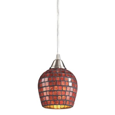 ELK Lighting Fusion 1-Light Pendant in Satin Nickel and Copper Mosaic Glass