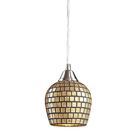 ELK Lighting Fusion 1-Light Pendant in Satin Nickel and Gold Mosaic Glass