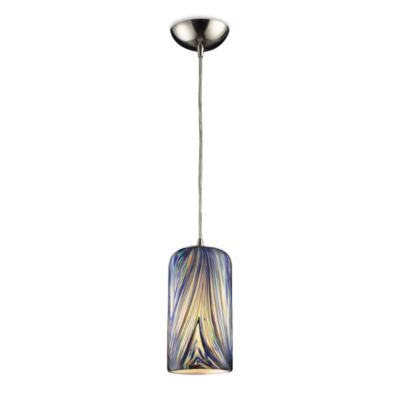 ELK Lighting Molten 1-Light Pendant in Satin Nickel with Molten Ocean Glass