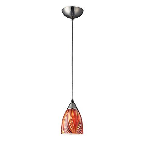 ELK Lighting Arco Baleno 1-Light Pendant in Satin Nickel with Multi Glass