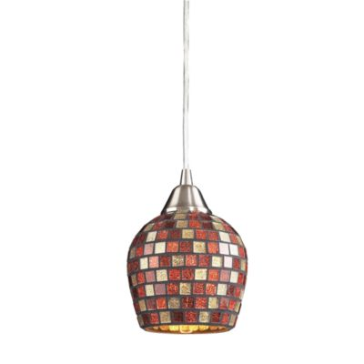 ELK Lighting Fusion 1-Light Pendant in Satin Nickel and Multi Mosaic Glass