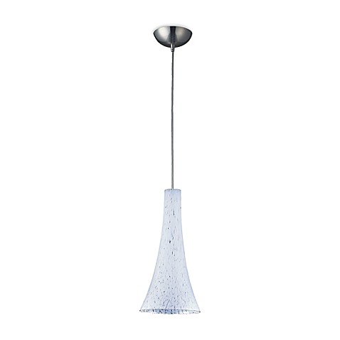 ELK Lighting 1-Light Pendant in Satin Nickel with Fluted Snow White Glass Shade