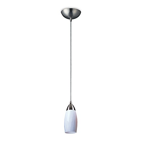 ELK Lighting Milan 1-Light Pendant in Satin Nickel and Simply White Glass