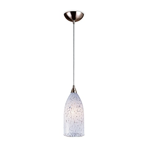 ELK Lighting Verona 1-Light Pendant in Satin Nickel with Snow White Glass