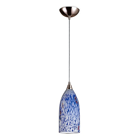 ELK Lighting Verona 1-Light Pendant in Satin Nickel with Starlight Blue Glass